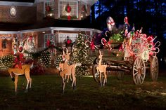 -lane wagon 100 web Chesapeake Christmas House: 1 Vote Shy of a Tie Outside Decorations, Outdoor Christmas Decorations, Christmas Light Displays, Christmas Lights, Magical Christmas, Christmas Stuff, Lights Fantastic, Outdoor Lighting, Outdoor Decor