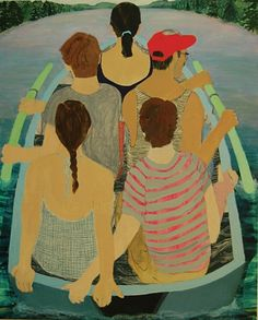 Giordanne Salley Crowded Boat  2012  oil and mixed paper on canvas  60in x 48in