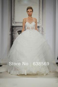pnina tornai wedding gown. ballgown. sheer bodice <3