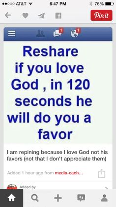 Let me make this clear I repost this because I love the lord