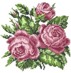 Embroidery Design Roses cross stitch by BicallisEmbroidery on Etsy