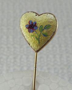 Blue Yellow Flower Guilloche Enamel Heart Locket Stick Pin Vintage Jewelry