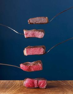 """Steak - Scale from rare to well done, """"Heston Blumenthal at home""""."""