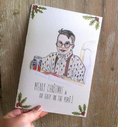 ****** HOME ALONE Christmas Greeting Card // FULLER MCCALLISTER ******* MERRY CHRISTMAS & GO EASY ON THE PEPSI !  ❁ ❁ ❁ DETAILS • Size: 5.4 x 7.8 = 13,7 cm x 19,7 cm • Original hand-drawn art by Evelyn Gyuris • Professionally printed on beautiful warm white metallics cardstock • Comes with white envelope • Blank inside // Extra inside page to write on • Carefully packed in cello bag _______________________________________________ ❁ ❁ ❁ SHIPPING & DELIVERY ❁ ❁ ❁  SHIPPING: 1-2 business days…