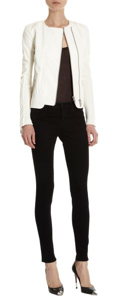 """J Brand """"Abiah"""" White Leather Jacket I have GOT to lose weight so I can be 'myself' again :-("""