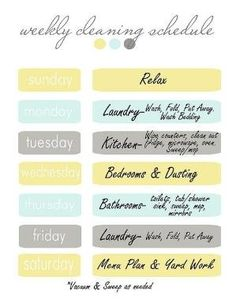 cleaning schedule by mandy