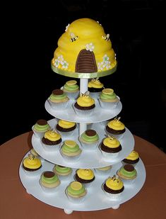 brown and green bee themed baby shower cupcake tower