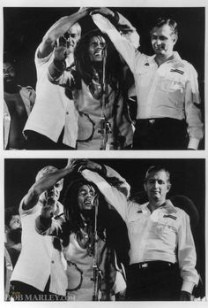 The One Love Peace Concert is held at The National Stadium in Kingston, Jamaica. During 'Jamming', Bob Marley joins the hands of political rivals Michael Manley (PNP) and Edward Seaga (JLP) in an unforgettable and historic moment.
