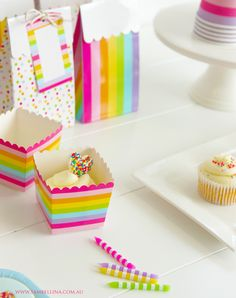 Rainbow Stripe Favour Boxes (pack of - Favour Bags & Boxes - Products - Party Party Decoration, Decorations, Rainbow Wedding, Party In A Box, Party Treats, Party Tableware, Party Bags, Favor Boxes, Party Supplies