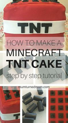 How to Make a MINECRAFT TNT Cake: easy, step by step tutorial to make a Minecraft TNT Block Cake for all your Minecraft fans! Tnt Minecraft, Easy Minecraft Cake, Cool Minecraft Houses, Hama Beads Minecraft, Minecraft Birthday Party, Minecraft Pixel Art, Minecraft Crafts, Cake Birthday, Minecraft Skins