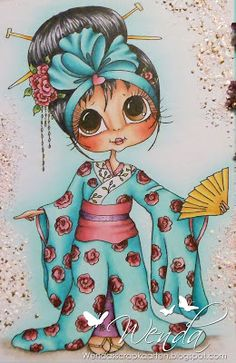 Copic Marker Benelux: Party in Japan Girl Cartoon, Cute Cartoon, Eye Art, Digi Stamps, Copics, Whimsical Art, Big Eyes, Illustrations, Animation