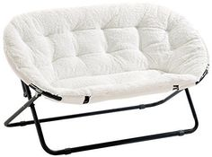 NEW Urban Shop Double Saucer Chair  White Sherpa