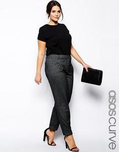 Plus size pants. exclusive to the ASOS CURVE collection. Made from an easy-care poly blend. Flattering high rise. Concealed zip fly. Turn up cuffs. Relaxed fit.
