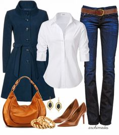 I absolutely love the dark wash jeans with a simple white button up.  Brown heels just make it that much better.