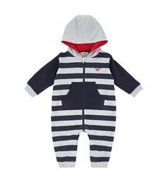 Armani Junior - Striped Hooded Playsuit