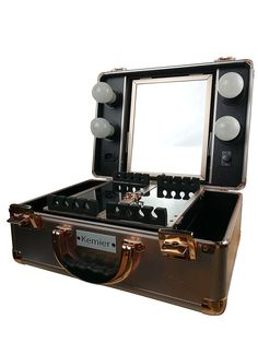 Vanity Suitcase With Lights Slaycase Pro Vanity Travel Train Case In Goldbling Nwt  Pinterest