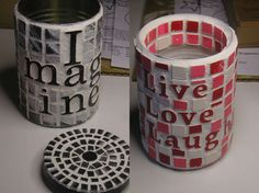 DIY- Mosaic recycled aluminum can & coaster idea~ Great for kitchen supplies, art supplies, coaster gifts.