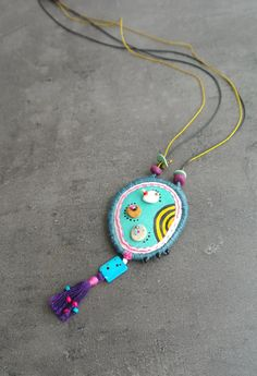 Hey, I found this really awesome Etsy listing at https://www.etsy.com/listing/195283151/fabric-necklace-with-polymer-clay-beads