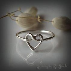 Heart Knot Ring love knot ring Infinity Heart ring by Katstudio