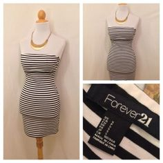 NWT FOREVER 21 Black White Strapless Tube Fitted Club Dress S