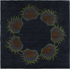 eCarpetGallery Handmade Abstract Art 7-Feet 7-Inch by 7-Feet 7-Inch Wool Rug, Dark Navy >>> Insider's special offer that you can't miss : Area Rugs, Runners Pads