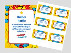 Superhero Baby Shower Diaper raffle Ticket Cards and sign, baby shower game, printable, baby shower game, Superhero baby shower game, FREE Printables