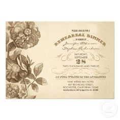 """rehearsal dinner invitations - vintage floral drawing drawing and vintage typography design. I suggest the """"linen"""" or """"felt"""" paper for this design. If you need more additional, matching products please contact me. If you like my style, please go to my store and see a lot of unique designs."""
