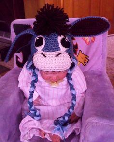 crochet Donkey hat inspired by Eeyore