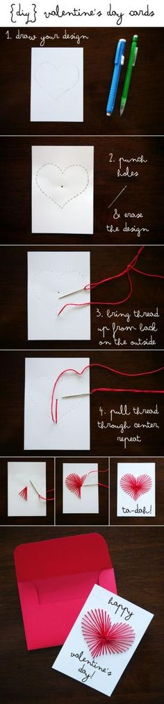 #DIY hand embroidered Valentines Day cards.