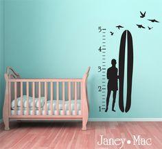 Surfer Growth Chart-vinyl, wall decal, surfer, growth chart, surfboard, birds, surfer bum, children's room, beach, modern, silhouette