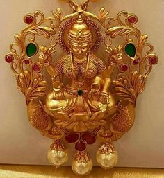 Goddess of wealth! India Jewelry, Temple Jewellery, Gold Jewellery Design, Gold Jewelry, Gold Necklaces, Gold Earrings, Gold Pendent, Diana, Gold Locket