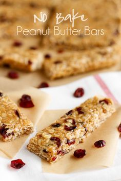 "No Bake Peanut Butter Bars -- these yummy no bake peanut butter bars can be endlessly customized, so you can have a different variety every time you ""no bake"" them!"