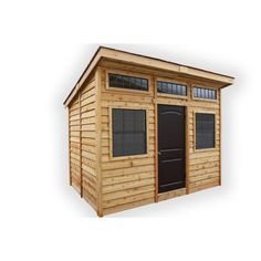 The 12 ft. x 8 ft. Studio Garden shed from Outdoor Living Today is manufactured from western red cedar featuring a fresh new modern design for the urban multi-purpose garden building. Functional as a garden shed, creative studio, storage space or a guest room. Use it to maximize your space to be functional and comfortable. 2 large functional aluminum windows with screens provide great ventilation and 3 non-functional aluminum windows offer lots of light. The solid locking door offers great acces Wood Shed Plans, Shed Building Plans, Diy Shed Plans, Storage Shed Plans, Building Ideas, Building Design, Wood Storage Sheds, Garden Storage Shed, Wooden Sheds