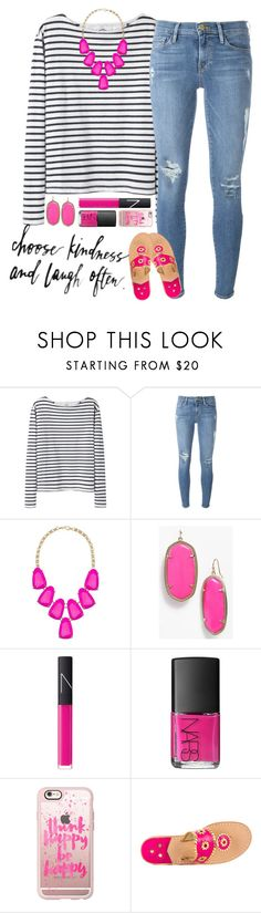 """""""choose kindness and laugh often"""" by sophie-dye ❤ liked on Polyvore featuring Wood Wood, Frame, Kendra Scott, NARS Cosmetics, Casetify and Jack Rogers"""