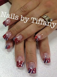 Acrylic nails by tiffany ongle gel rouge, ongles noel, ongles french, jolis ongles Solar Nail Designs, Holiday Nail Designs, Fingernail Designs, Holiday Nails, Nail Art Designs, Pedicure Designs, French Nails, Ongles Gel French, French Pedicure