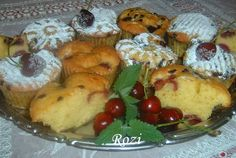 Cseresznyés muffin Muffin, Dairy, Cheese, Meat, Chicken, Breakfast, Food, Morning Coffee, Essen