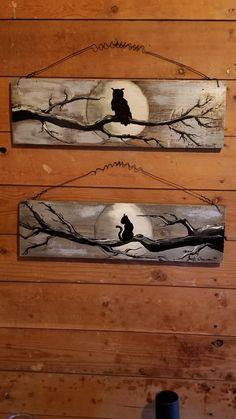 Halloween Wood Crafts, Halloween Canvas, Fall Crafts, Halloween Crafts, Pallet Painting, Pallet Art, Tole Painting, Painting On Wood, Rustic Wood Crafts