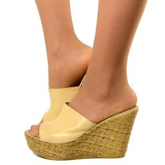 Wedges High Woman with range containment in Beige Leather
