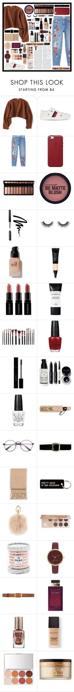 """""""First set on my new account!💓"""" by fashionbbi ❤ liked on Polyvore featuring Uniqlo, Gucci, MANGO, Apple, Forever 21, Bobbi Brown Cosmetics, e.l.f., Smashbox, M.O.T.D Cosmetics and OPI"""