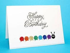 Cards by Maaike #SSS #SSSfaves Birthday Balloons for the sentiment and Memory Box cute caterpillar