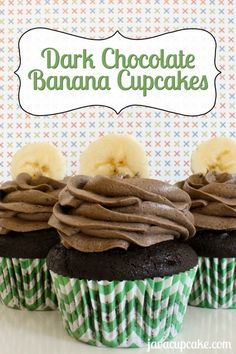 Dark Chocolate Banana Cupcakes by JavaCupcake at www.lovefromtheoven.com