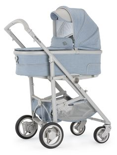 Bebecar SpotTech in Pale Sky.  The new SpotTech is the only pushchair you'll ever need. It combines the compact folding of a lightweight stroller with the comfort of a luxury pram.