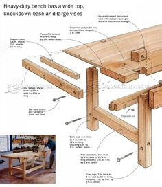 Heavy Duty Workbench Plans - Workshop Solutions Projects, Tips and Tricks - Woodwork, Woodworking, Woodworking Plans, Woodworking Projects Woodworking Bench Plans, Workbench Plans, Woodworking Guide, Woodworking Projects, Garden Bench Plans, Diy Workshop, Workbenches, Diy Tools, Table Furniture