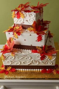 square wedding cakes with fall flowers four tier square cake with fall colored shaded leaves on 20419