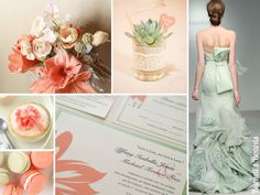{sage and coral ( what your wedding dress color means)} light green and coral wedding ideas http://burnettsboards.com/2012/11/coral-sage/