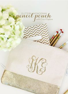 diy monogram bag, pencil pouch, gift ideas, bridesmaid gifts, monogram pencil, monogrammed gifts diy, pencil bags, birthday gifts