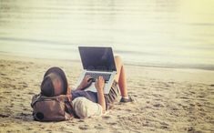 Photo about Young woman using laptop computer on a beach. Freelance work concept. Image of business, landscape, outdoors - 92010439