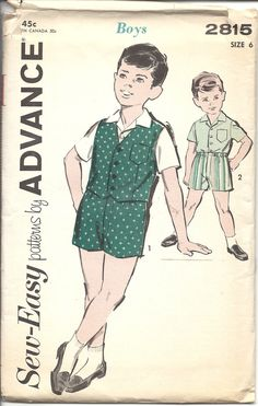 Advance 2815 60s Vintage Sewing Pattern Boys Shirt Vest 1960s Boys Size 6 COMPLETE by VintageClothingDream on Etsy https://www.etsy.com/listing/153960529/advance-2815-60s-vintage-sewing-pattern