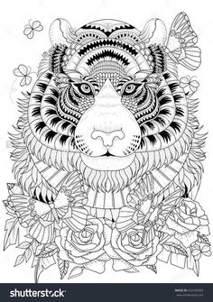 Imposing Tiger With Floral Element