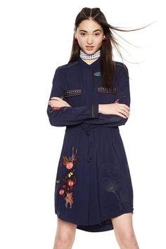 DESIGUAL ΓΥΝΑΙΚΕΙΟ ΜΑΚΡΥΜΑΝΙΚΟ ΠΟΥΚΑΜΙΣΟΦΟΡΕΜΑ JAZMIN (18SWVW75) - E-Dshop.gr High Neck Dress, Shirt Dress, Shirts, Dresses, Fashion, Kleding, Turtleneck Dress, Vestidos, Moda